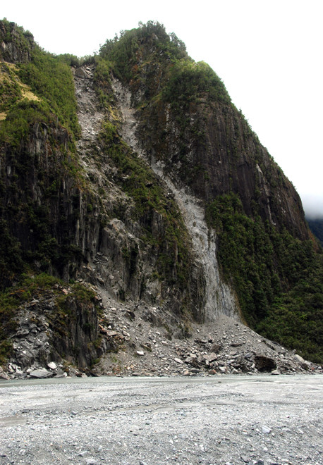 Rockfall scars on Cone Rock in the lower Fox Glacier valley