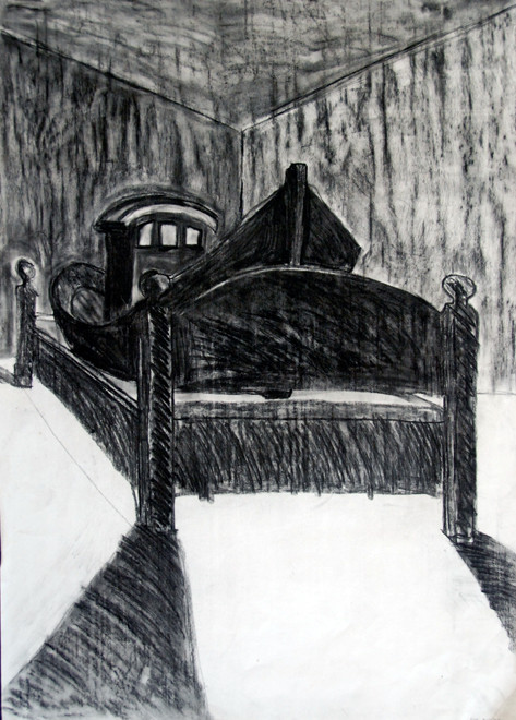 Penzance fishing boat on high seas of bed (Charcoal, A1 size) Fergus Murray Drawing