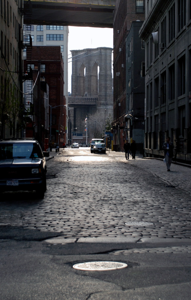 Dumbo street below Brooklyn Bridge