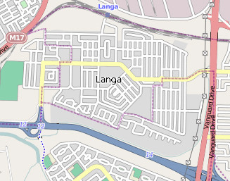 Langa township established in the 1920s using a design allowing maximum visibility of residents and a supervisor controlling visitors and gatherings (Map courtesy Wikipedia: Langa)