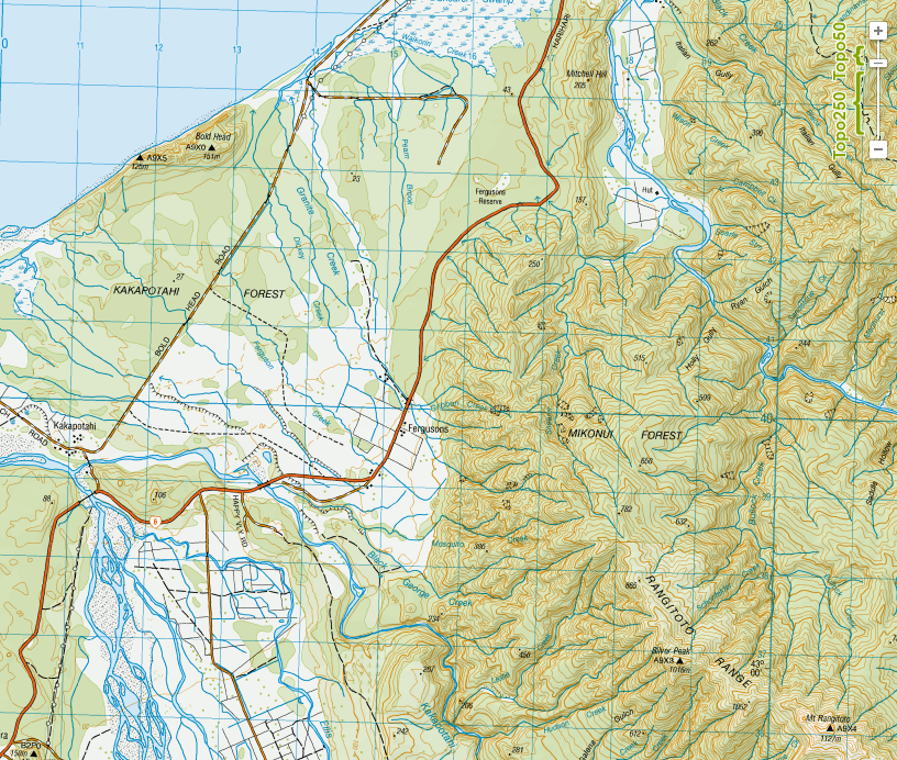 'Fergusons' and 'Ferguson Reserve' makred on the map 10km south west of Ross