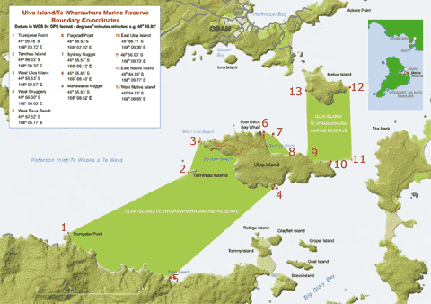 The Ulva Island/Te Wharawhara Marine Reserve that protects much of Ulva Island's shoreline and sea in the middle of Paterson Inlet, Stewart Island (DOC map)..