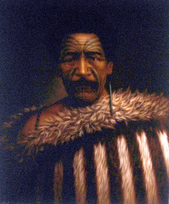 Tamati Pirimona Marino, Chief of Aorere (to become 'Collingwood'). He died in 1876 and is buried in Collingwood (G Lindauer 1870 - Aorere Centre display).