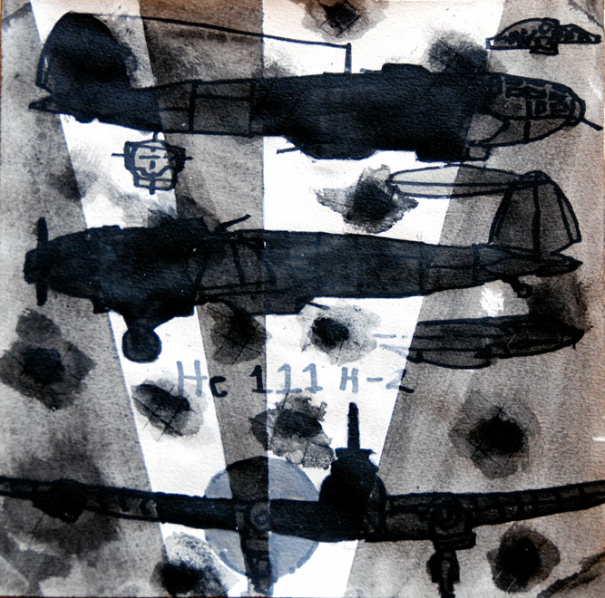 29/30 December 1941:Heinkel HE 111 h-2, 2007 (Ink) (25x25) Fergus Murray