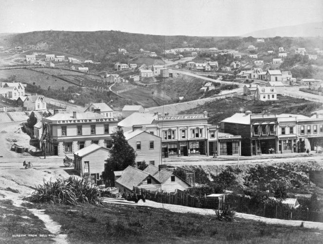 Looking across Princess Street Dunedin in 1864 (William  Meluish Photographer) Ref: 1/2-004373-F. Alexander Turnbull Library, Wellington,