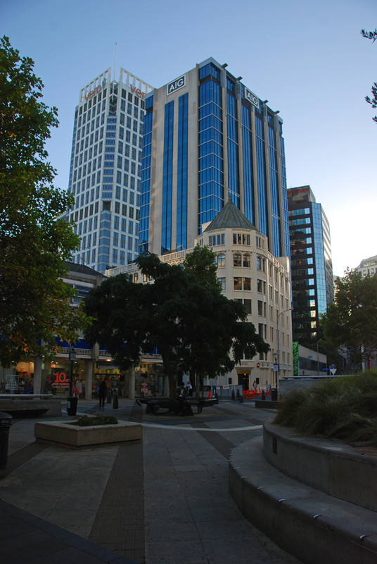 Glass and steel towers in Auckland's CBD.