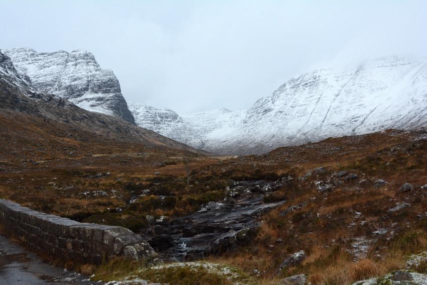 The Bealach na Ba at the Russel Burn with Na Ciochan and  Beinn Bann (896m), 13/12/14.