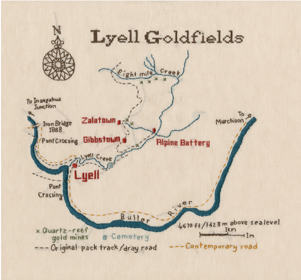 Embroidered map of the Lyell Goalfied. Part of an exhibition on the West Coast's abandoned gold towns, Notown,  by New Zealand artist, Caroline McQuarrie (click for link)