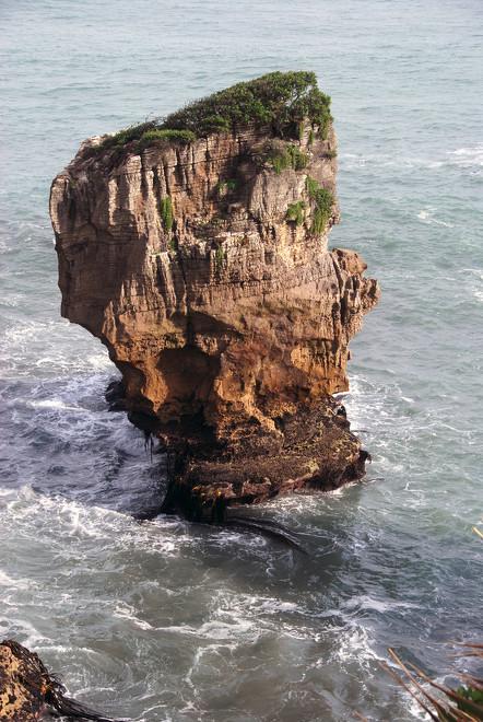 Limestone stack at Punakaiki Rocks.