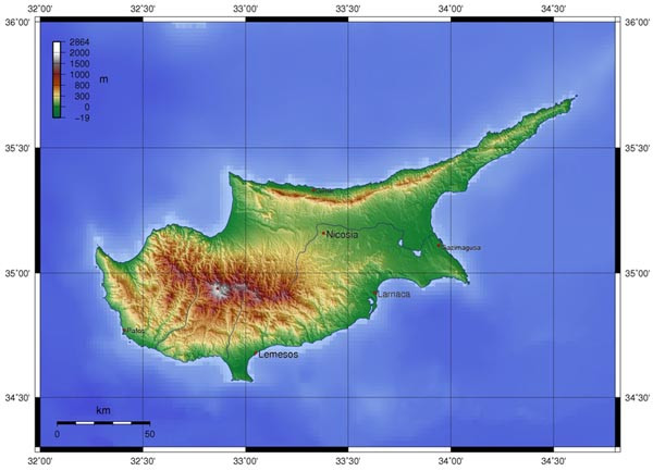 Topographical Map of Cyprus