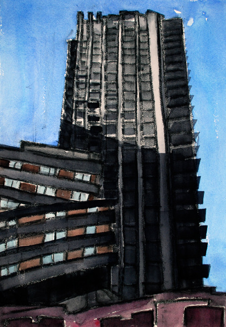 Lauderdale Tower and Brandon House I, Barbican 2006 (Watercolour) (51x36) FErgus Murray