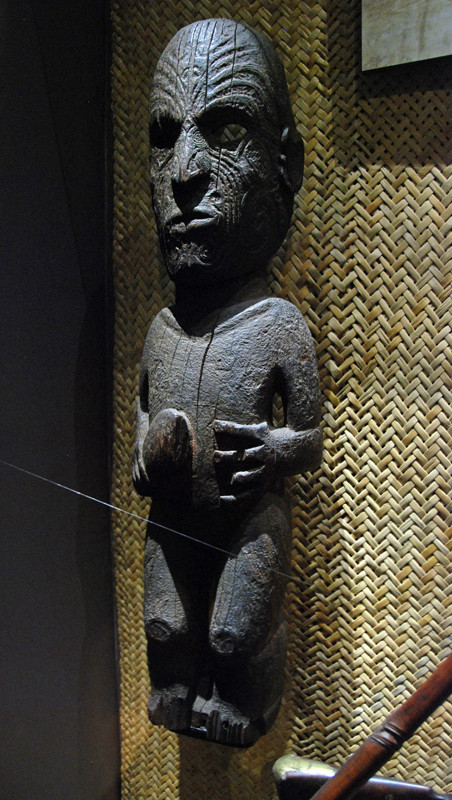 Maori carving of a warior with a patu - club (Auckland Museum).