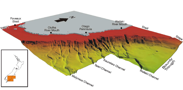 Continental margin outlining the main lowstand conduits to the Bounty Trough: the Clutha/Mata-Au formed the Molyneux Channel (Fulthorpe et al. (1999) MARGINS: NEW ZEALAND FOCUS AREA)
