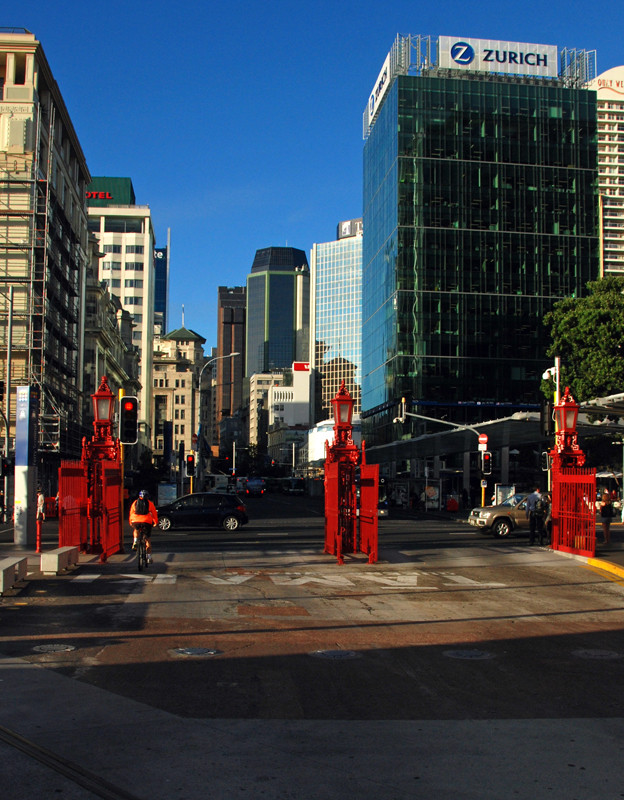 From the Auckland Port Authority gates looking up Queen Street into the hearto of the Auckland CBD.