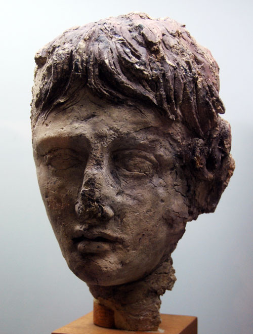 Clay head of a man from the funerary pyre discovered at Salamis, 4th Century BC, Cyprus Museum.