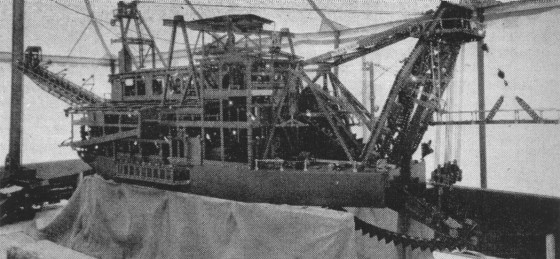The nearly completed Meccano dredger pictured in the Meccano Magazine in 1957 (click for link)