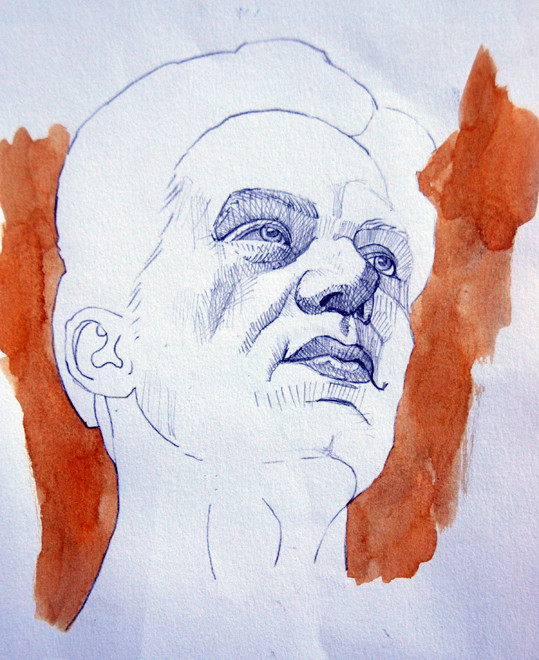 Head: Anatomy Study III (pencil and body colour)