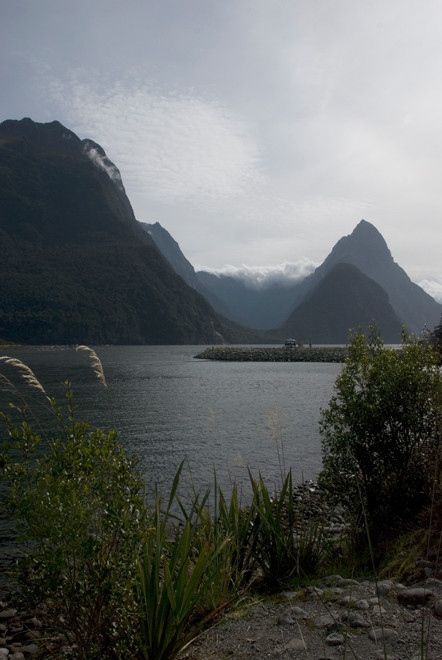 Milford Sound from the car park at the road end. Mt Phillips (1,446m), the Footstool (835m) and Mitre Peak (1,683m).