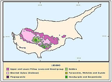 Rock types of the Troodos Ophiolite Complex (c) Cyprus Geological Survey Department)