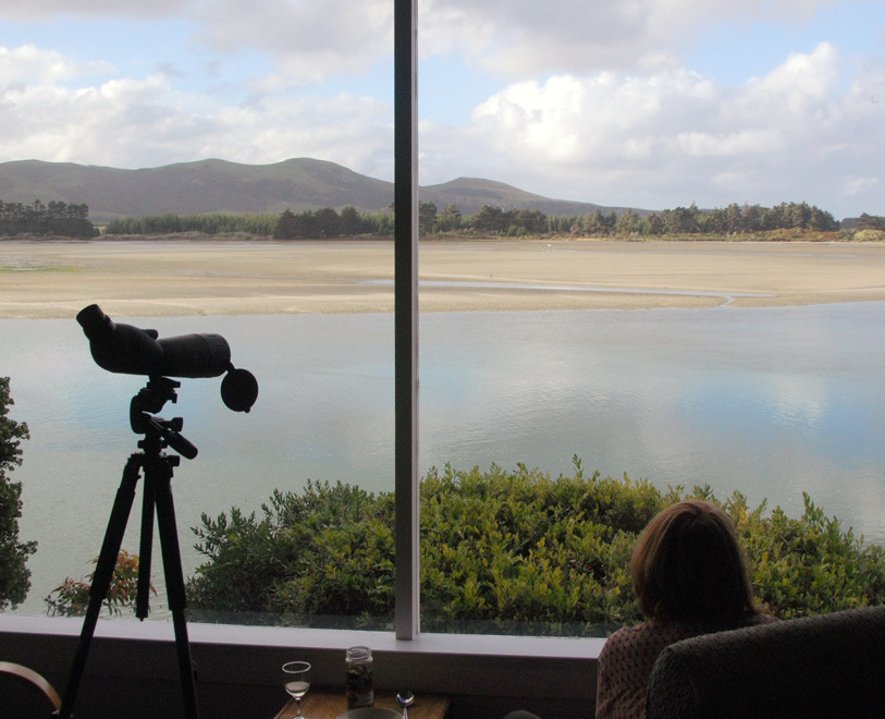 Papanui Inlet from the bach. Through the telescope a colony of seal lions was visible on the back side of the spit at Victory Beach