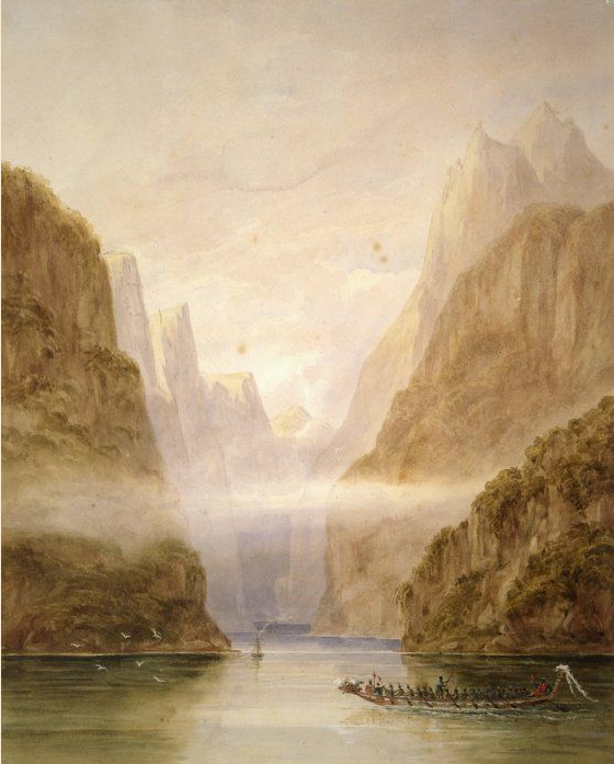 'Entering Milford Sound in H M Acheron' (1850) Frederick Evans, 1815-1885 (Turnbull Library - click for link). The addition of the waka is thought to be fanciful.