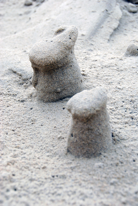 'Bunny columns' sculpted by the wind at Sand Fly Bay