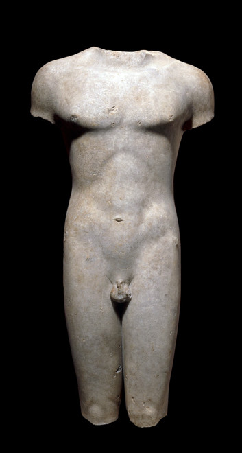 Marion kouros (front view), BC 510-20, marble British Museum (British Museum photo)