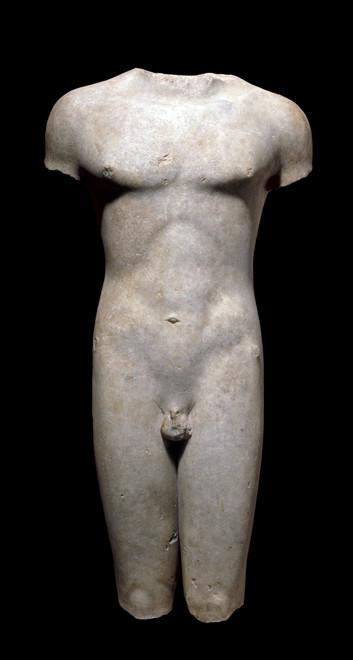 Marion kouros (front view), BC 510-20, marble British Museum (British Museum photo)