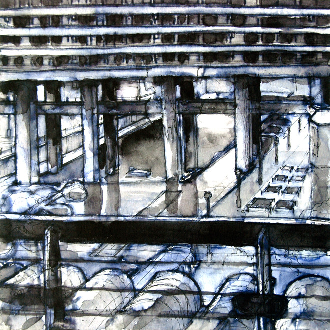 Blue Bridge, Barbican 2006 (Ink) (25x25) Fergus Murray