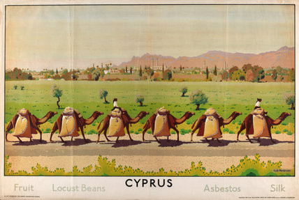 Keith Henderson 'Cyprus: Fruit - Locust Beans - Asbestos - Silk' from the series 'Some Empire Islands' of the Empire Marketing Board 1927-33 © Canadian War Museum