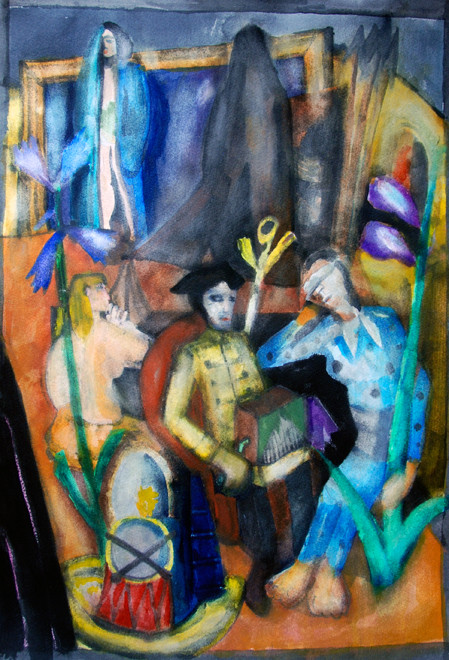 Study of Max Beckmann's 'The Organ Grinder' 1935 (2008) (Watercolour) (52x34) Fergus Murray