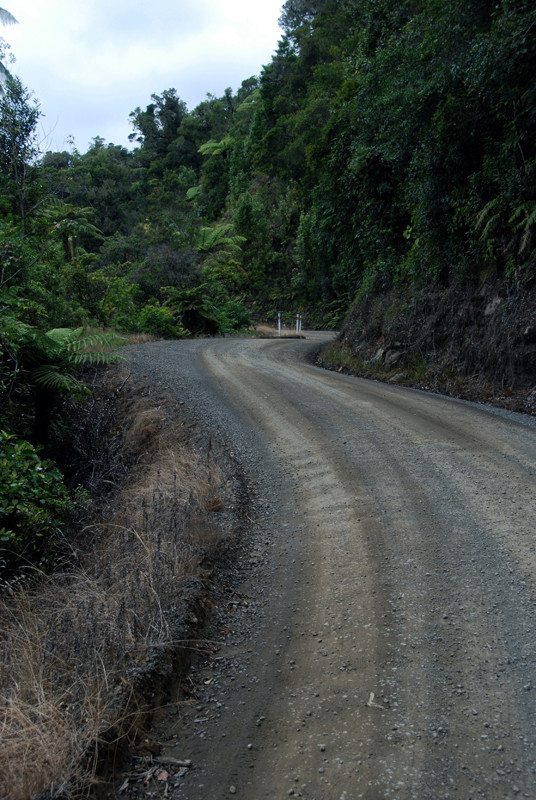 The sweeping curves and blind corners of the Tapu-Coroglen gravel road. It's not a road for the nervous or unwary.
