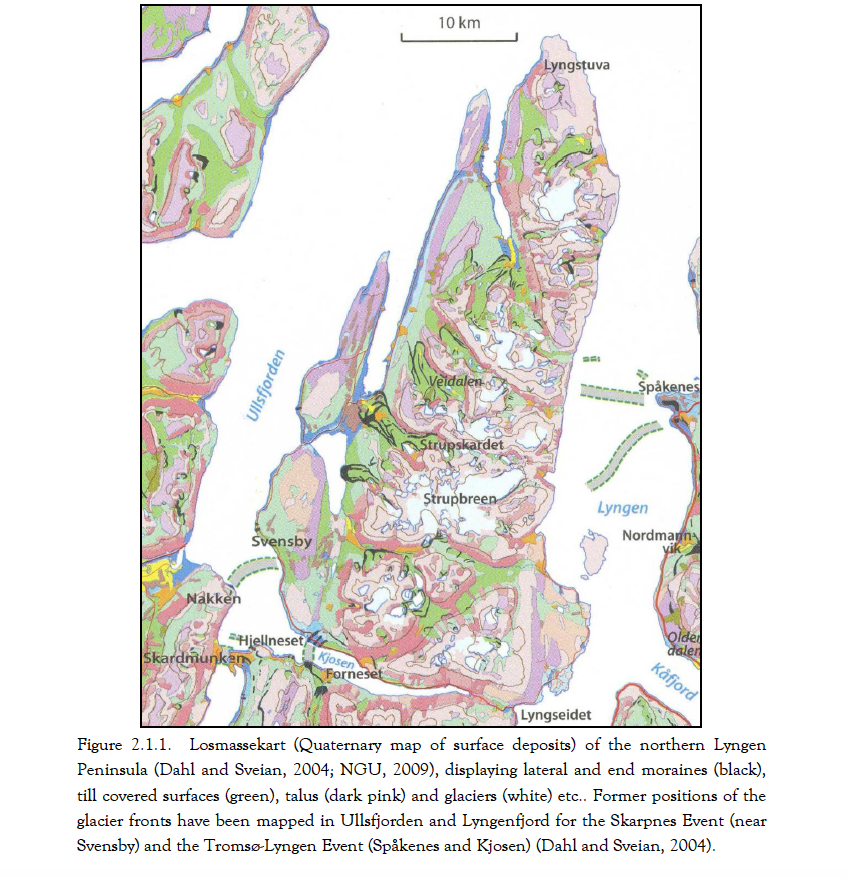 From Greig, D., (2011) Moraine chronology and deglaciation of the northern Lyngen Peninsula, Troms, Norway. Masters Thesis in Geology, University of Tromsø.
