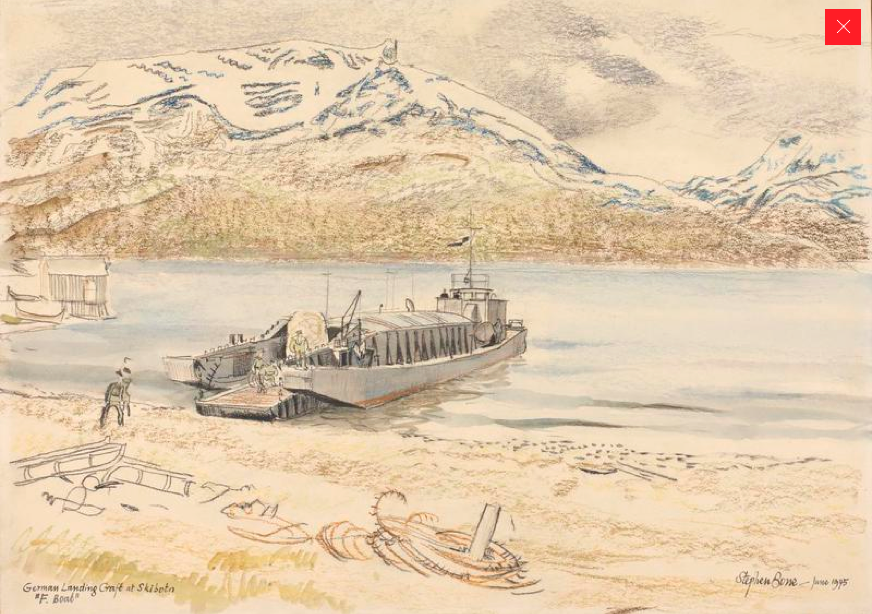 German Landing Craft ('F Boat') at SkibotnStephen Bone, British War Artist, 1945 © Imperial War Museum (http://www.iwm.org.uk/collections/item/object/3237). These boats may have been used to ferry troops and vehicles over the fjord at Olderdalen.