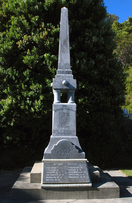 War Memorial in Collingwood. Eight fallen in the IWW and eleven in the IIWW including a Ferguson, Polglase and Wigzell