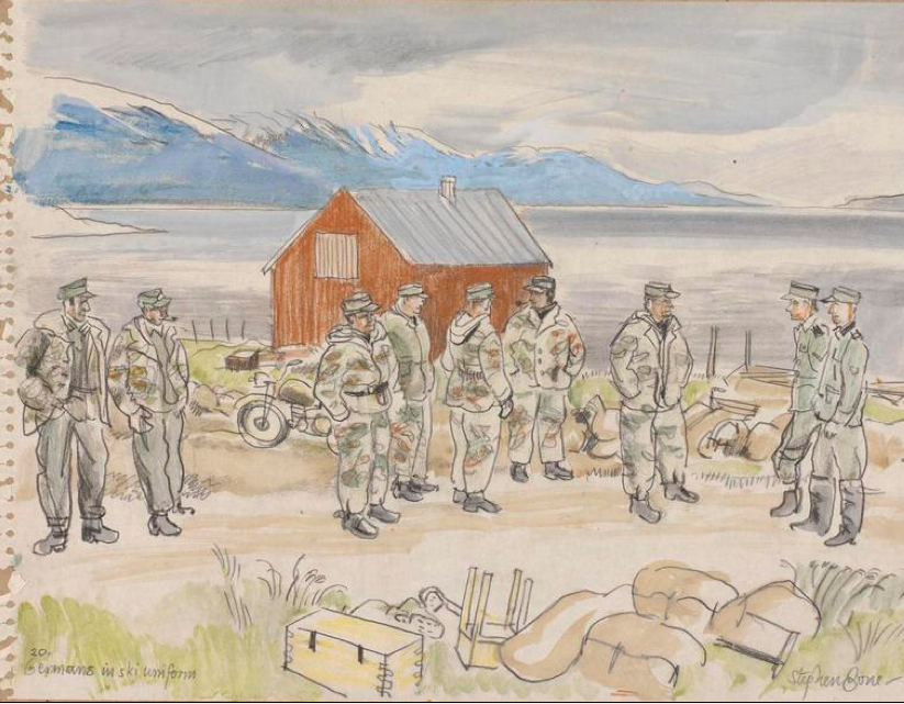 German Soldiers with ski uniforms (artist's caption). Probably at Skibotn. Stephen Bone, British War Artist, 1945 © Imperial War Museum http://www.iwm.org.uk/collections/item/object/3242