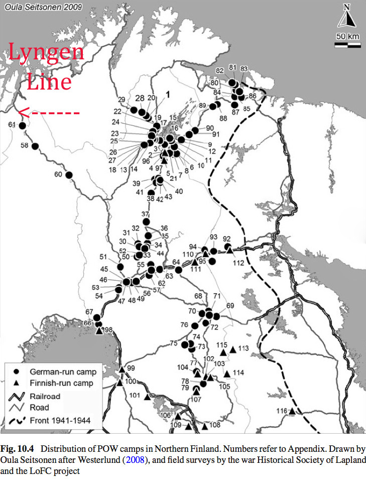 Map of German and Finnish Russian POW camps in northern Finland. Over 30,000 Russian prisoners were kept and moved about in these labour camps. (From  Forgotten in the Wilderness: WWII GermanPoW Camps in Finnish Lapland Oula Seitsonen and Vesa-Pekka Herva