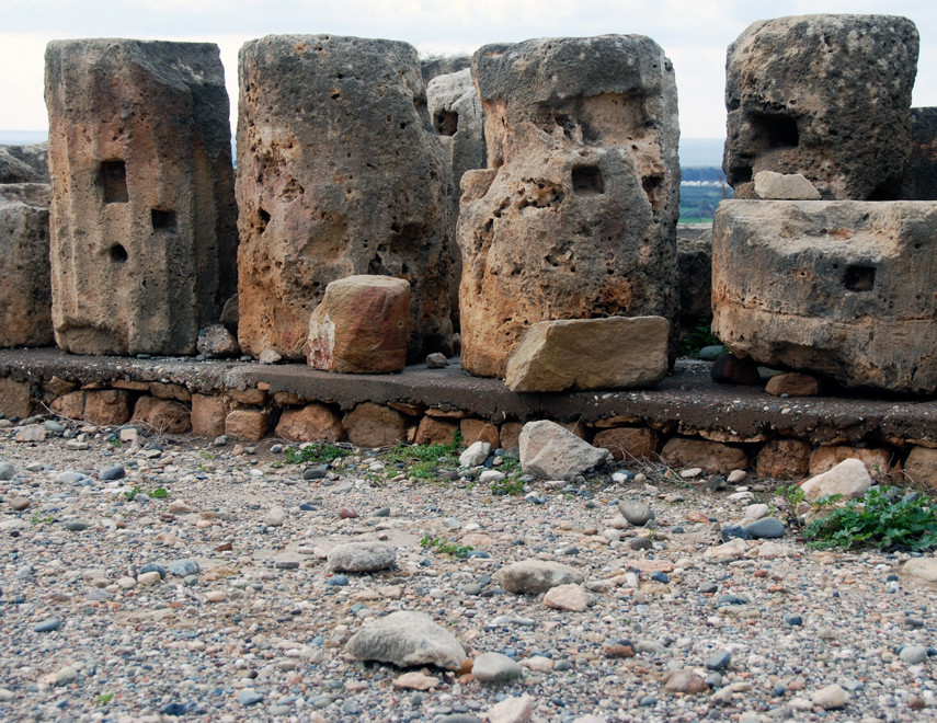 Pillar fragments from the Late Bronze Age flat-roofed, pillared-hall forming the second part of the Sanctuary of Aphrodite (Kouklia, January 2013).