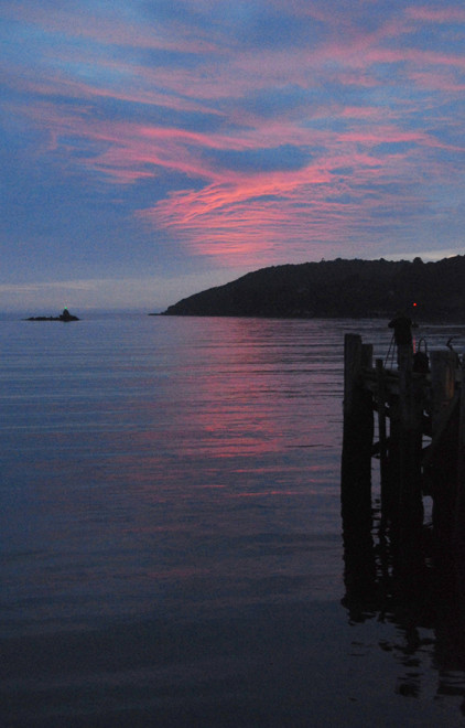 First blush of sunrise, late summer on Stewart Island.