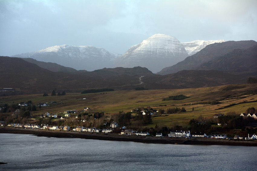 Looking back over Loch Carron to the moutains that guard the road to Applecross.