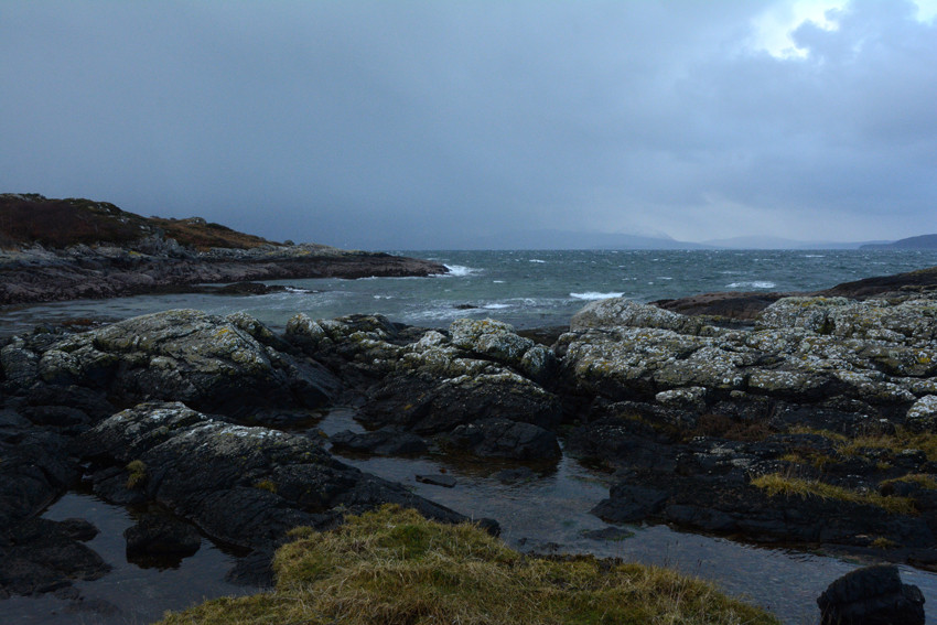 The freezing westerly whipping up the Inner Sound looking across to Scalpay and Skye.