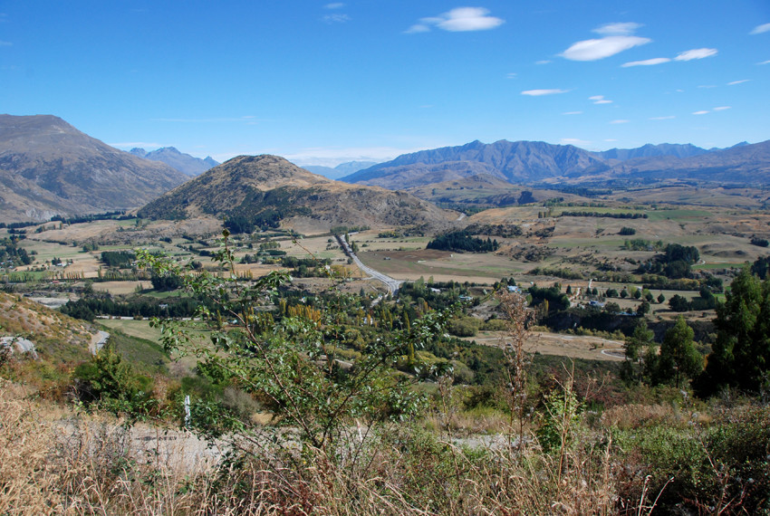 Looking east-south-east from above Arrowtown towards the Carrick Ridge Ranges.