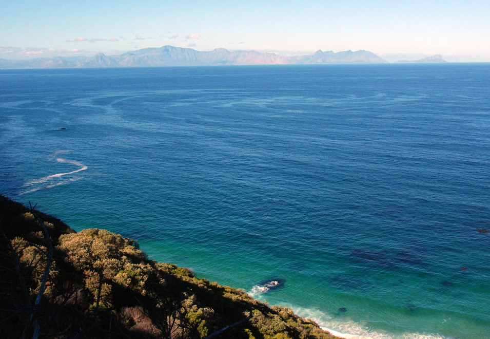 Looking east over False Bay to the Kogelberg Mountains on the Whale Coast