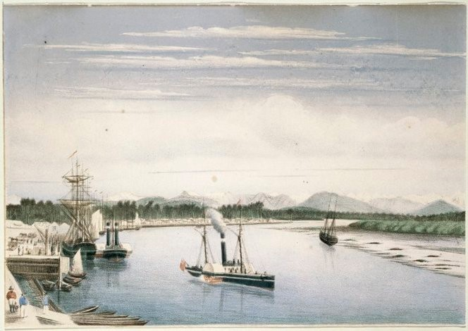 Cooper, William M (1833-1921) Hokitika. Chromolithograph of ship and paddlesteamer at the wharf at Hokitika. 1868-70. Ref: A-104-025-a. Alexander Turnbull Library, Wellington, New Zealand. http://natlib.govt.nz/records/22309766
