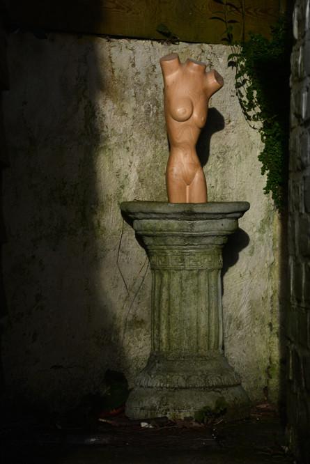 Ash Torso on the pedestal in winter sun.