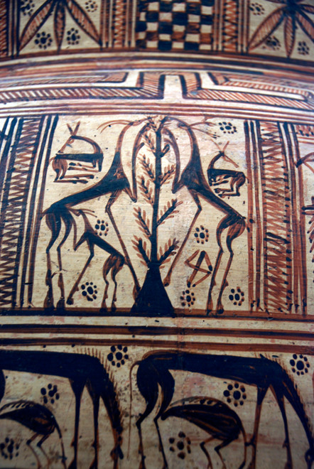 Detail of Terracotta Krater attributed to the Cesnola Painter, 750-40BC Kourion, The Cesnola Collection, Metropolitan Museum of Art, New York.