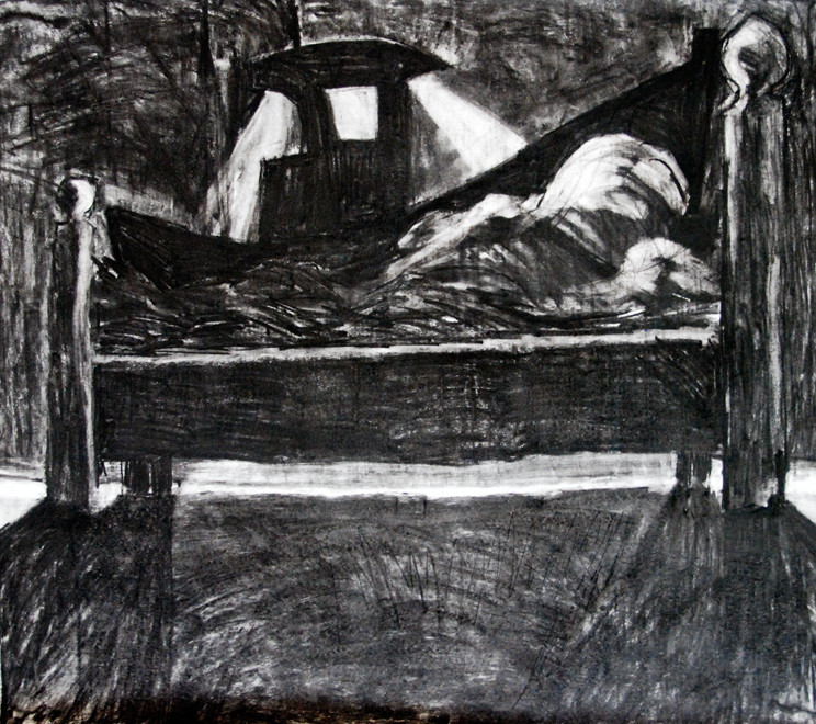 Night time fishing boat in stormy bed (Charcoal, A1 size) Fergus Murray Drawings