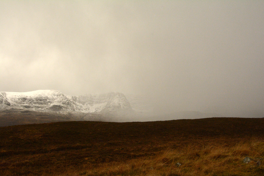 Squall engulfing Bein Bhan (896m) from the Kishorn road.