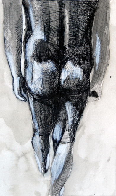 Kouros Walk 15 2009 (Ink and chalk) (30x23) Fergus Murray