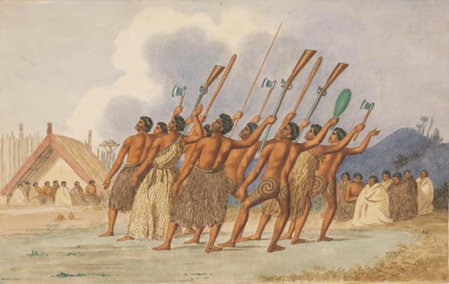 For several decades after the introduction of the musket to New Zealand, Māori warriors used both muskets and their traditional weapons. Watercolour by Joseph Merrett c.1845 (Te Ara and NatLib of Australia).